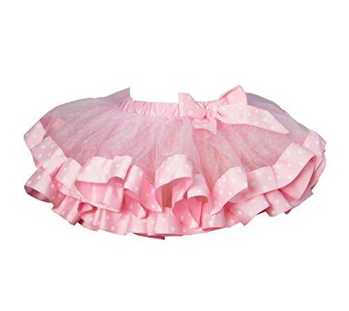 Kirei Sui Polka Dots Satin Trimmed Tutu M Light Pink ()