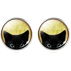 Womens Mystic Pet Cat Art Pattern Earrings Funny Animal Stud Earrings Holiday Gift