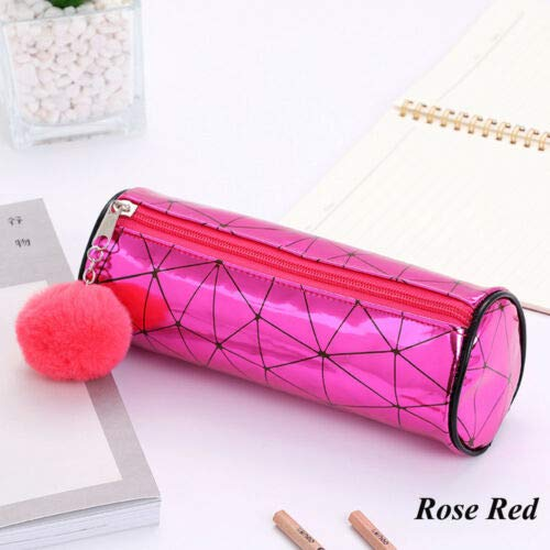 (Holographic Cylindrical Laser Pencil Case Plush Ball Makeup Pouch Cosmetic Bag (Color - rose red))