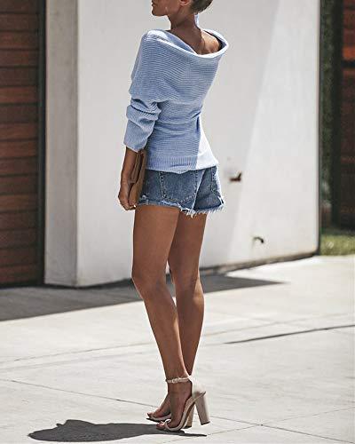 di Maglioni Manica Wrap Lunga Autunno Donna Maglieria V Croce Knitted Pullover ZiXing Tops Inverno collo Elegante Blu Maglia 5wqSYHfX