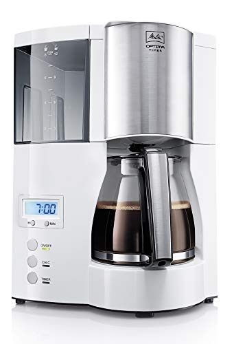 Melitta Cafetera de filtro con jarra de vidrio, Función temporizador y conservación de temperatura, Optima Timer, Blanco…