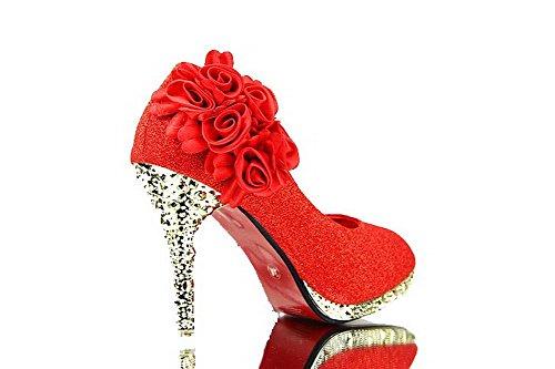 Allhqfashion Mujeres Shiny Heels Pull On Bombas Zapatos Con Flores, Redhxsf6, 38