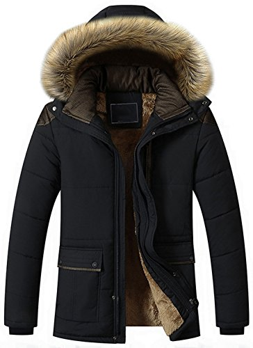 chouyatou Men's Winter Removable Hooded Frost-Fighter Sherpa Lined Midi Packable Parka Jackets (Black, Large)