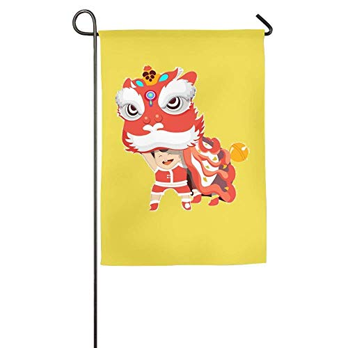 Pingshoes Custom Lion Dance Chinese Family Party Porch Yard House Garden Flags 12x18 inches All-Weather Polyester (Custom House Divided Flags)