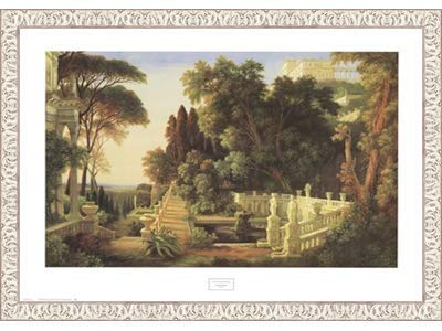 Poster Palooza Framed Italian Villa- 32x24 Inches - Art Print (White Wash Frame)