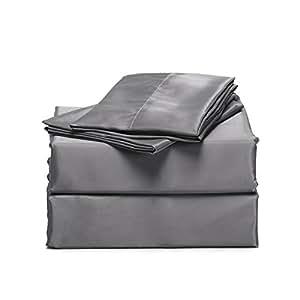 Amazon Com Bedsure 4 Piece Satin Bed Sheet Set Queen Dark