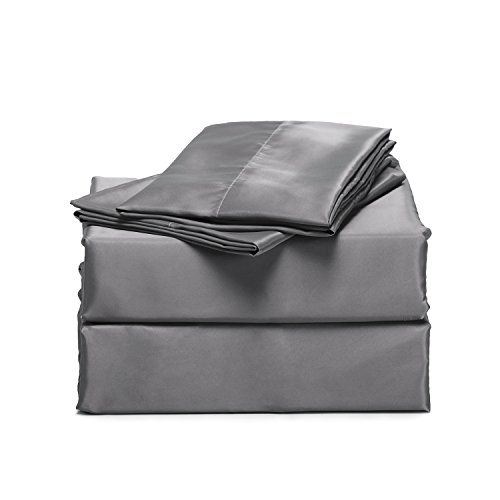 Bedsure 4-Piece Satin Bed Sheet Set King Dark Gray Smooth and Silky with Deep Pocket Fitted Sheet