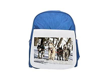 Huskies, Husky, ojos azules, perro, nieve Impreso Kid s azul mochila
