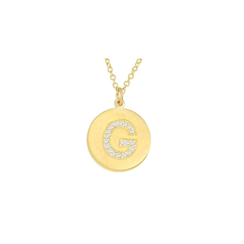 Personalized alphabet 14k Yellow gold diamond initial letter G disc pendant necklace