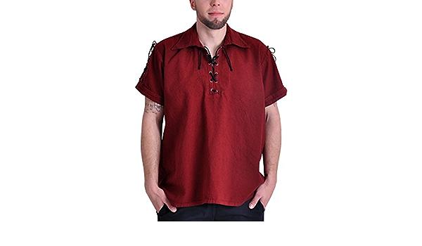 Camisa de pirata medieval camiseta de manga corta algodón de ...