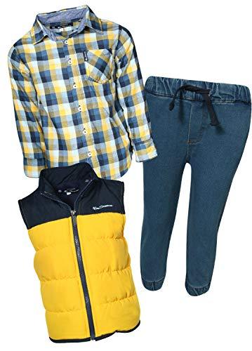 Ben Sherman Boys 3-Piece Fleece Vest, Woven Shirt, and Jogger Set, Navy/Yellow Plaid, Size - Fleece Woven Vest