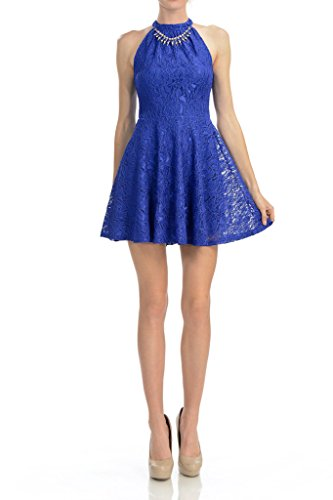 Auliné Collection Womens Halter Sleeveless Floral Lace Skater Dress Royal Blue Large ()