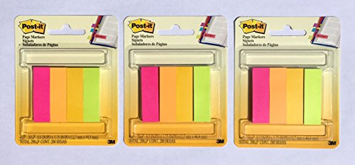 Post-it Page Flag Markers, Assorted Brights, 200 Strips per Pack (3-pack)