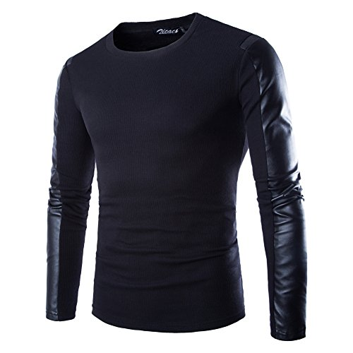 Zicac Men's Pu Leather Patchwork T-shirt Long Sleeve Pullover Black US:L(Asian Size Tag - Leather Shirt