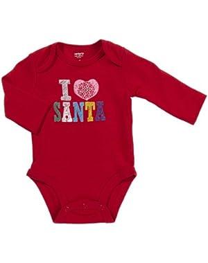 Carter's Wiggle in Bodysuit - I Love Santa-Red-NB