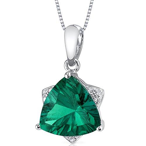 (14 Karat White Gold Trillion Cut 2.27 carats Created Emerald Diamond Pendant)
