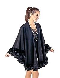 Madison Avenue Mall Womens Plus Size Cashmere Swing Cape Black Rex Rosettes