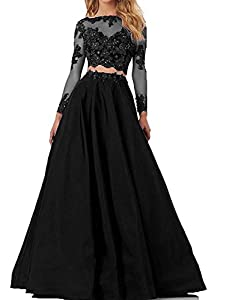 Little Star Women's 2 Piece Prom Dresses Long Sleeve Evening Party Ball Gowns