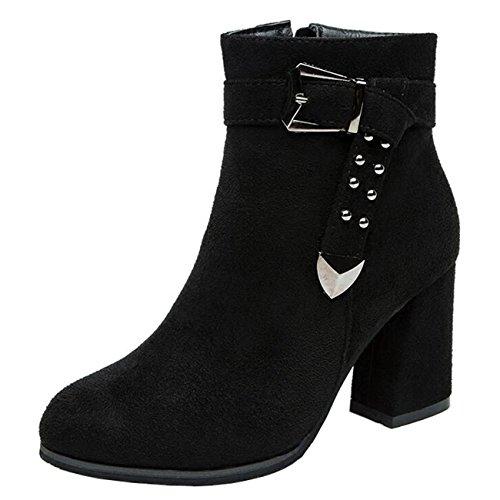 Binying Suede Heel Women's Zip Toe Ankle Block Metal Black Round Mashiaoyi Boots 4nqCwdBq