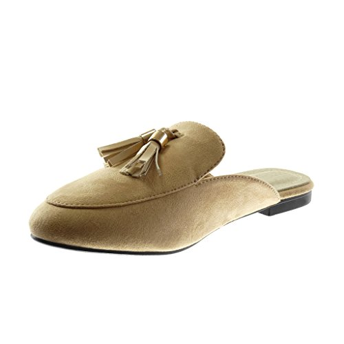 Angkorly Damen Schuhe Oriental Hausschuhe - Slip-On - Bommel - Fransen - Golden Blockabsatz 1.5 cm Beige