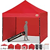 ABCCANOPY 15+Colors Commercial 10x10 Ez Pop up Canopy, Party Tent, Fair Gazebo and Roller Bag Bonus 4X Weight Bag, Red