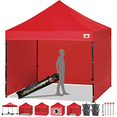 ABCCANOPY Canopy Tent Popup Canopy 10x10 Pop Up Canopies Commercial Tents Market stall with 6 Removable Sidewalls and Roller Bag Bonus 4 Weight Bags and 10ft Screen Netting and Half Wall, Red