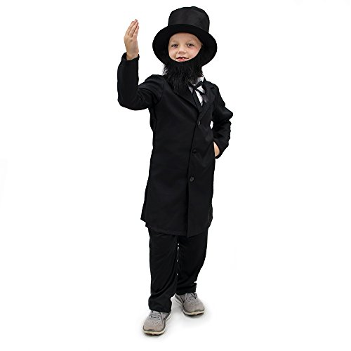 Honest Abe Lincoln Children's Boy Halloween Dress Up Theme Party Roleplay & Cosplay Costume (Youth Medium (5-6)) - Lincoln Hat With Beard