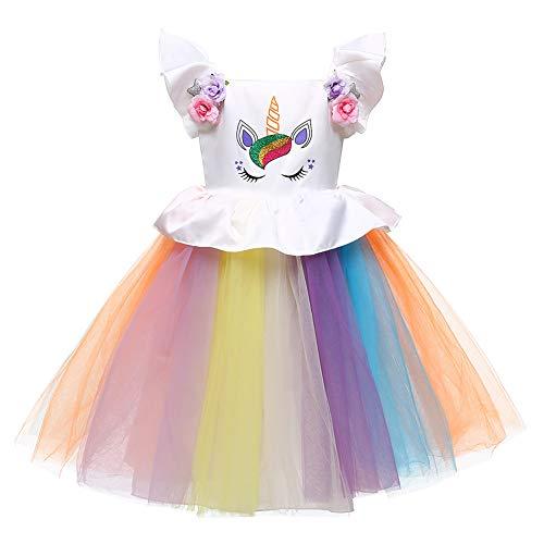 LZH Baby Girls Unicorn Dress Birthday Pageant Princess Tulle Tutu Costumes Rainbow Dress Up -