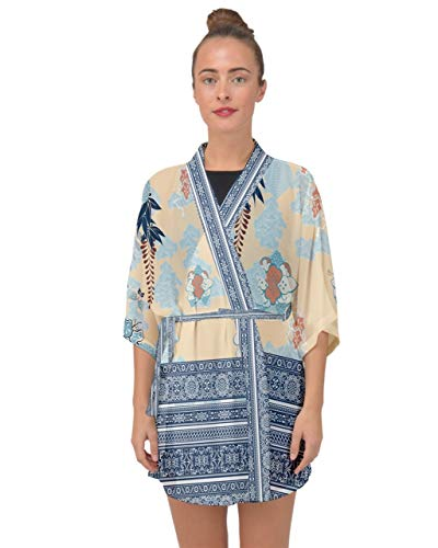 CowCow Womens Japanese Style Flower Fuji Half Sleeve Chiffon Kimono - M Light ()