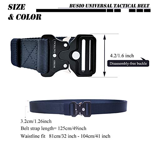 BUSIO Military Tactical Molle Riggers Belt,Army Duty Gun Belt,Nylon Webbing  Belt, Quick-Release Small Metal Buckle with Clip D-Ring Carabiner (Navy