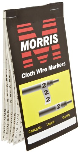 Morris Products Pre-Printed Wire Marker Booklet - A - Z, 0 - 15, + - / Marking - 10 Markers Per Legend – For Cable Hook Ups – Oil, Water, Abrasion Resistant – Self-Adhesive Cloth Material – 1 Count