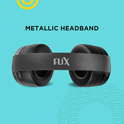 FLiX (Beetel) X1 Over-Ear Bluetooth 5.0 Headphone with Built-in Mic & 40 MM Drivers for Deep Bass, 12 Hours Playback, 13 Hours of Talk time, AUX and SD Card Support (Black)