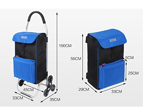 Amazon.com: LUCKYYAN 56L Lightweight Aluminum alloy Shopping Trolley with Heat Preservation Bags, Foldable 6 Wheel Large Capacity Shopper for Daily ...