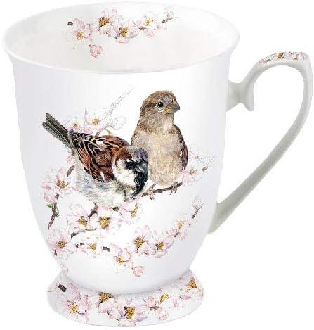 Ambiente Fine Taza de porcelana de hueso Sparrows Blossom 0.25 Liter Mug