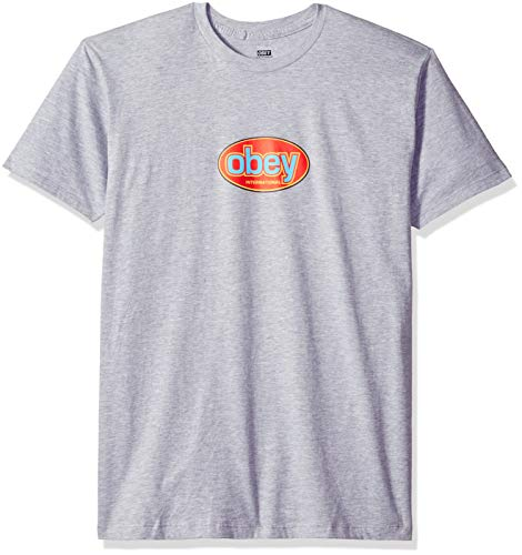 Obey Men's International Short Sleeve Lightweight Tshirt, Heather Grey, Small