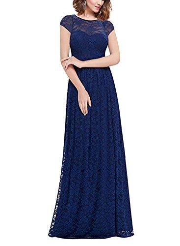 MABELER Women's Retro Lace Wedding Maxi Bridesmaid Long Dress Blue XXL -