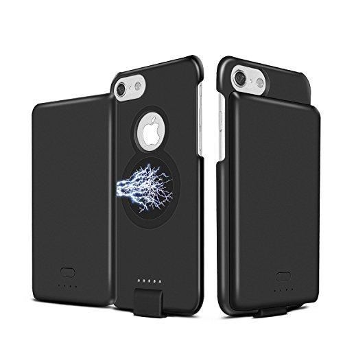 Battery Charger Case for iPhone 8/7/6S/6,4000 mAh Wireless Fast Charger Case Portable Protective Charging Case with Removable Magnetic Back Clip Power Bank for Apple iPhone 8/7/6S/6 (4.7-Inch)