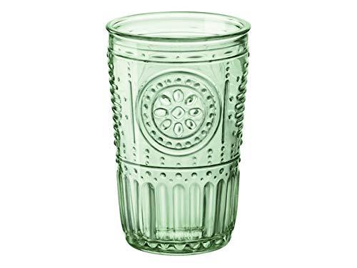 Bormioli Rocco Romantic 090802 Set of 4 Glasses, Glass, Green, 34 cl