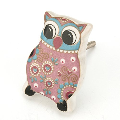 Pink Paisley Owl Ceramic Cabinet Knobs, Drawer Pulls & Handles Set/8pc ~ C94 Ceramic Owl Knobs for Children's Decor, Baby's Nursery, Cabinets, Furniture or Bathroom Vanity with Chrome Hardware. (Whimsical Knobs Drawer)