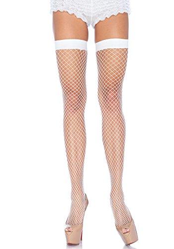 (Leg Avenue Women's Industrial Net Thigh High Stockings, White, One)