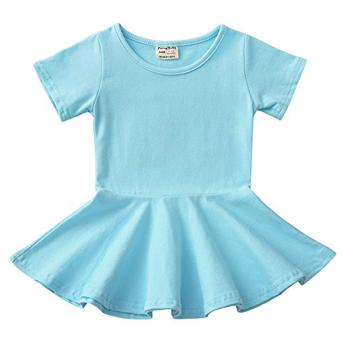 Daiermeng Baby Girls Dress Short Sleeves Organic Skirt Ruffled Pullover (9-12m, Cyan)