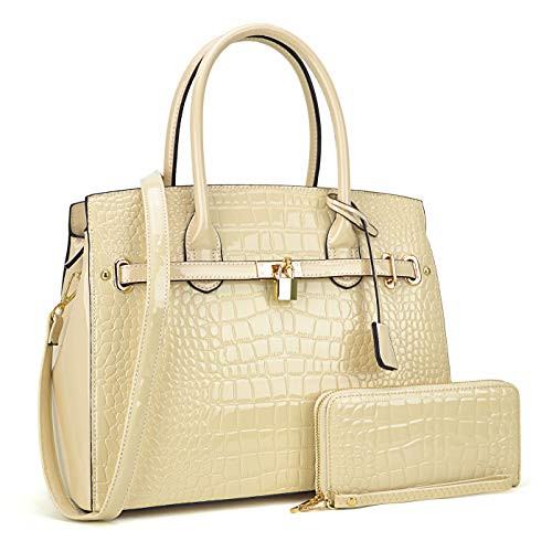 Women Patent Leather Purses and Handbags Ladies Tote Bag Padlock Shoulder Bag Top Handle Satchel with Wallet (Croco- Taupe)