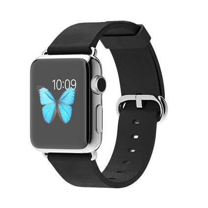 Apple Watch 38mm Stainless Steel Case with Black Classic Buckle.
