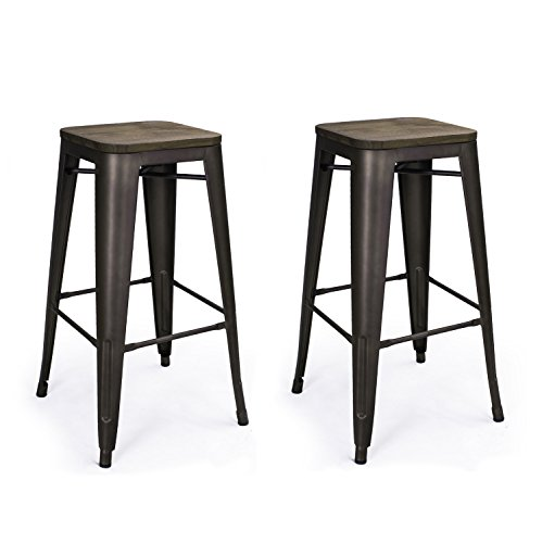 Adeco 30″ High Metal bar Stools, Vintage Wood Top Seat Barstool, Black Bronze, Set of 2 For Sale