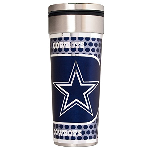 NFL Dallas Cowboys Travel Tumbler with Metallic Graphics, 22-Ounce, - Travel 22 Ounce Mug