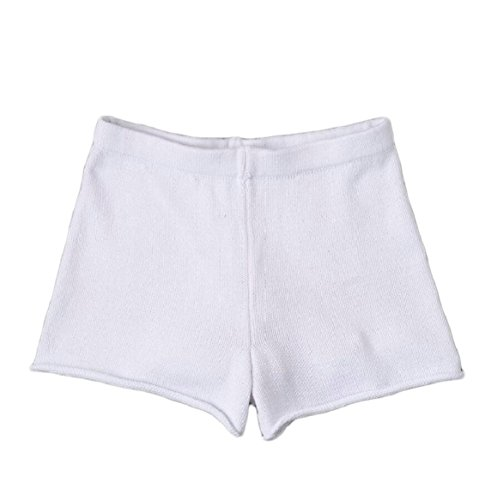 Yayu Women's Soft Knit Short Pants Elastic Waist Jersey Shorts White XS by Yayun