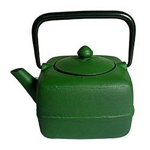 Japanese Tetsubin Cast Iron Square Green Teapot - Iron Infuser Square Cast