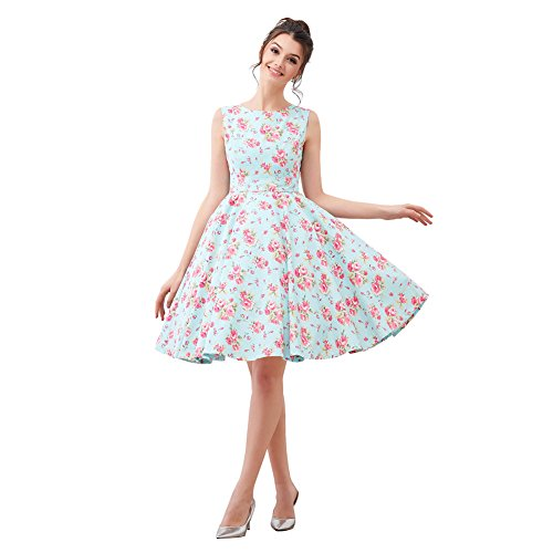 FiftiesChic 100% Cotton Sleeveless Polka Dot Floral 50s Vintage Rockabilly Swing Dress (M (US4-6), Mint Peony) (Polka Floral Dot Dress)