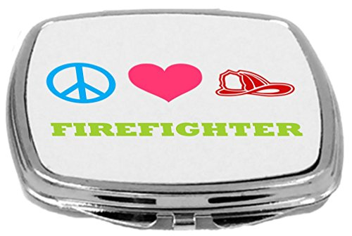 Rikki Knight Peace Love Firefighter Design Multifunctional Messenger Bag - School Bag - Laptop Bag - with Padded Insert for School or Work - Includes Matching Compact Mirror by Rikki Knight (Image #1)
