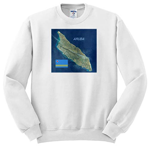 Lens Art by Florene - Topo Maps and Flags - Image of Aerial Topo View with Flag of Aruba - Sweatshirts - Youth Sweatshirt Large(14-16) (ss_306862_12)